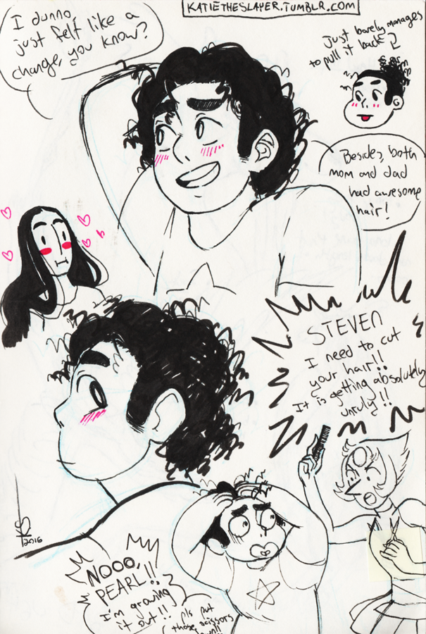 I rewatched 'Steven's Birthday' today and felt like doodling some teen Steven…I mean…slightly older teen Steven. Because he's already a teen. Yeah. 16? 15? But mostly I wanted to draw him just...