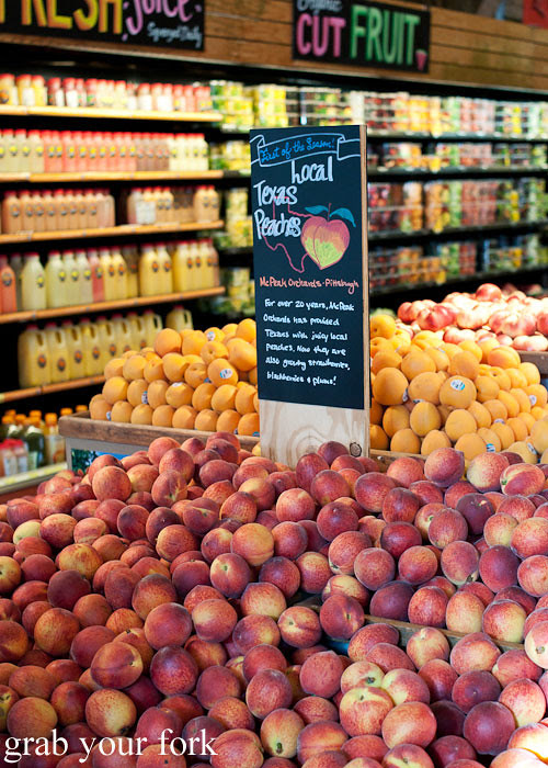 texas peaches fruit at whole foods market flagship store supermarket groceries austin texas