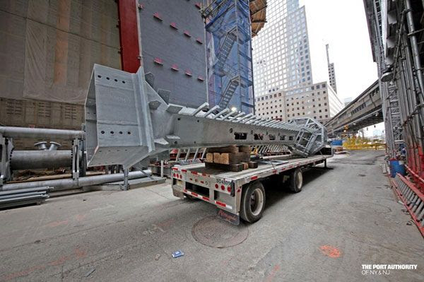 The final segment of the 1 World Trade Center's antenna spire awaits its transport to the top of the building on March 12, 2013.