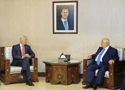 Walid Al Moallem y Staffan De Mistura.