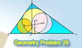 Problema 26: Triángulo rectángulo, Altura, Recta que une los Incentros, Inradio.