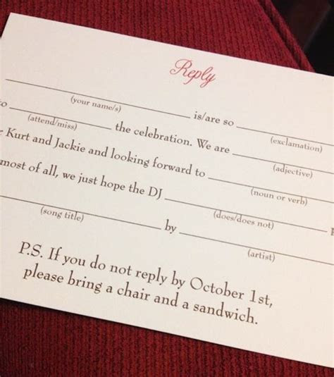 Funny wedding RSVP line will LOL your guests into replying