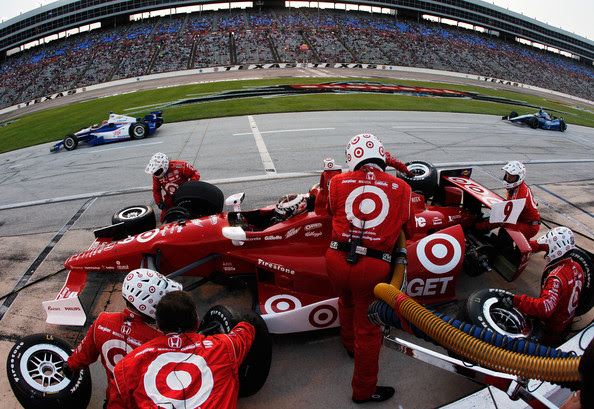 Scott Dixon of New Zealand, driver of the #9 Target Chip Ganassi Racing Honda Dallara, pits during the IZOD IndyCar Series Firestone 550 at Texas Motor Speedway on June 9, 2012 in Fort Worth, Texas.