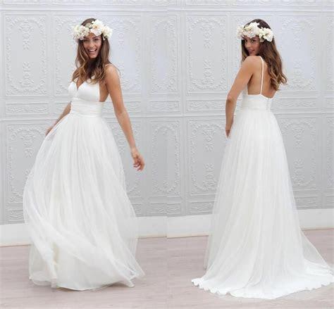 Spaghetti Beach Wedding Dress Bridal Gown White Ivory Size