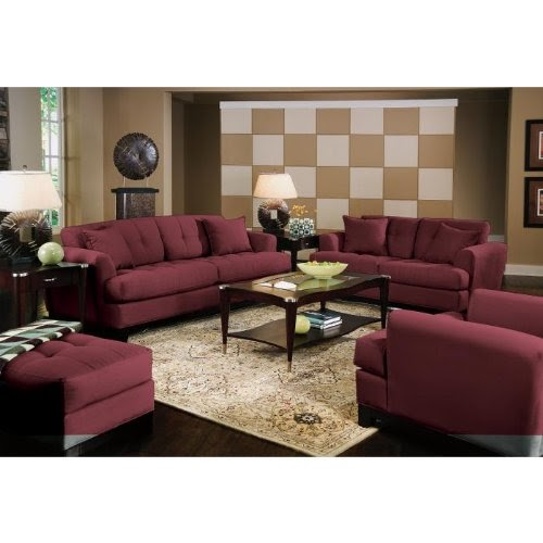 Architecture modern living room cindy crawford home for Maroon and brown living room