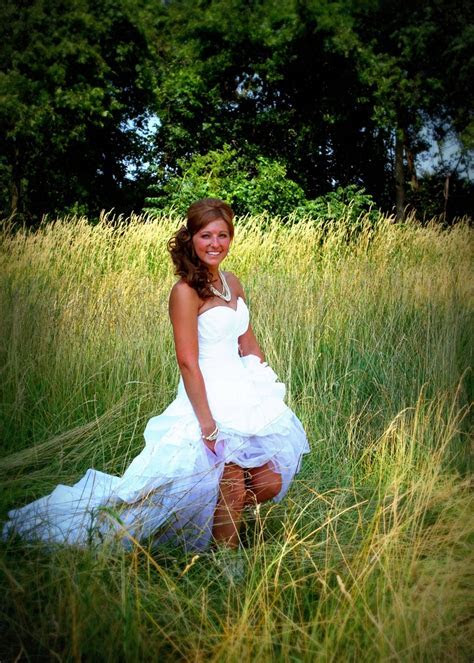Country wedding dress. Love the simple grass background
