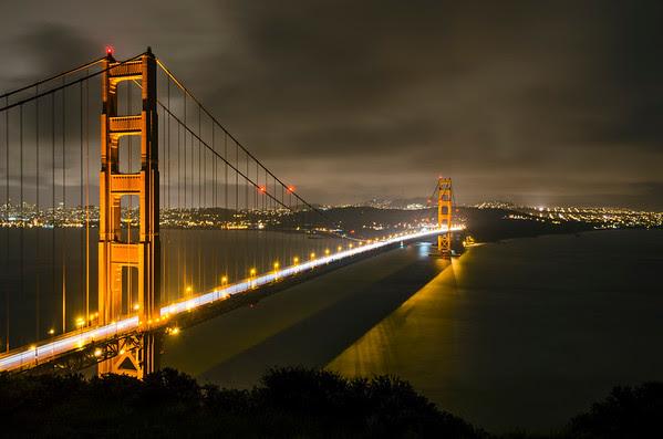 Moody Golden Gate Bridge shot in the rain