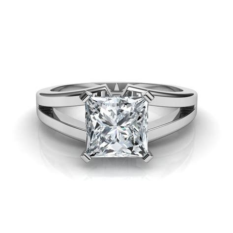 Split Shank Princess Cut Diamond Solitaire Engagement Ring