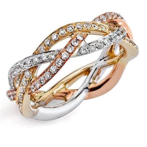 Braided Tri Tone Gold Diamond Eternity Ring by Parade