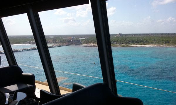 A snapshot of the Costa Maya resort from inside the Spinnaker Lounge on Deck 13 of the Norwegian Jade, on March 21, 2018.