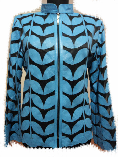 Light / Ice / Baby Blue Leather Leaf Jacket for Women [ Click to See Photos ]