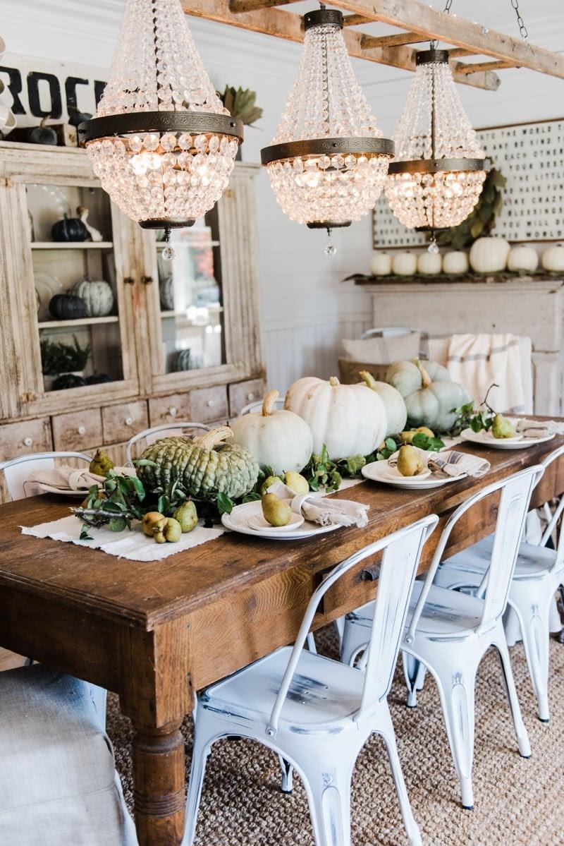 Happy Fall - Rustic Pumpkin & Pear Farmhouse Table