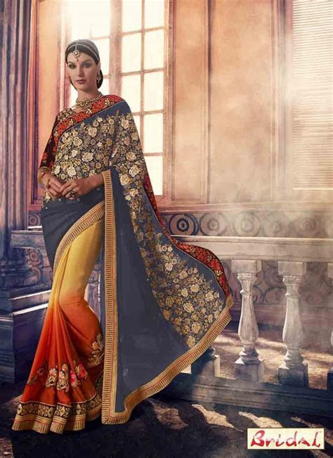 blue and yellow designer bridal saree for wedding