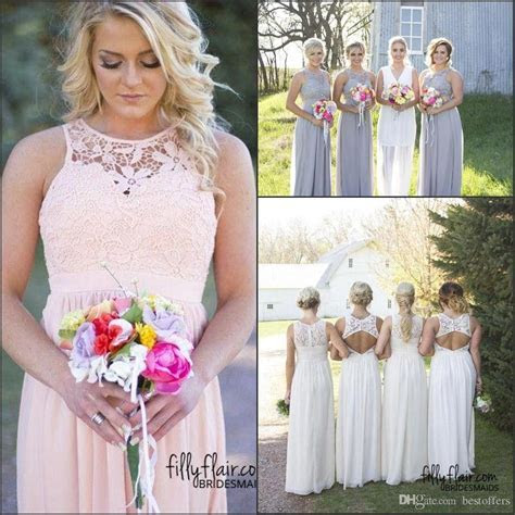 Hot Country Style Bridesmaid Dresses 2017 Jewel Neck Top