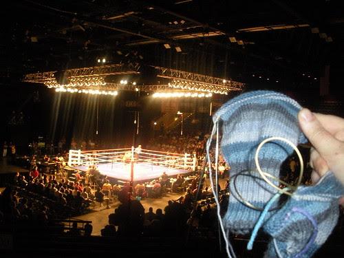 knitting at boxing match