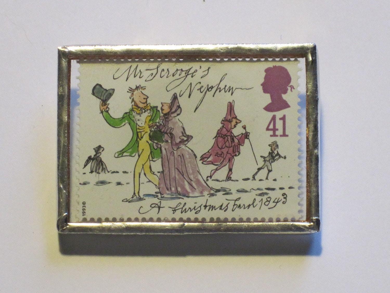 Postage Stamp Brooch - A Christmas Carol - Mr Scrooge's Nephew