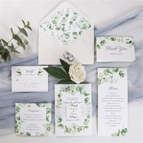 refreshing eucalyptus wedding invitation with vellum paper