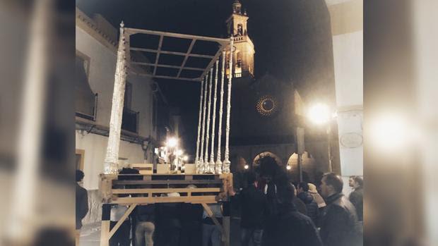 Prueba de la nueva parihuela de la Virgen del Mayor Dolor
