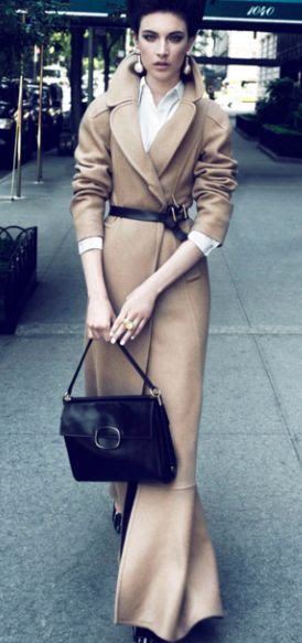 an elongated twist on a classic:  notch-collar, wool, camel maxi coat with black leather belt at waist ... elegantly stated