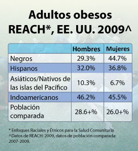 Adultos obesos. Reach. EE.UU. 2009