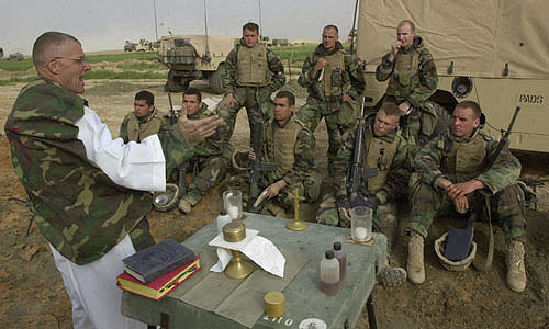 Marines at Catholic service in Iraq><BR CLEAR=