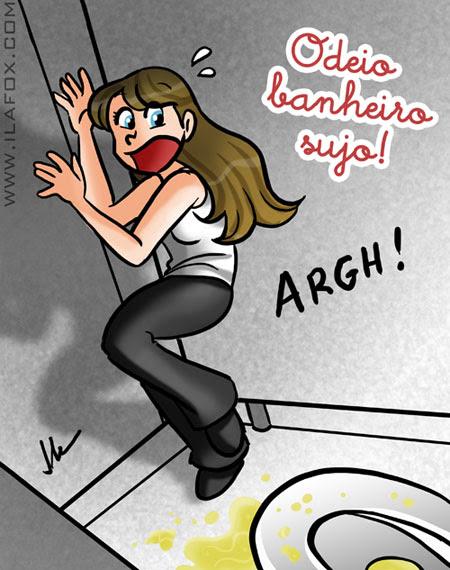 Eu odeio privada suja de xixi, ilustração by ila fox