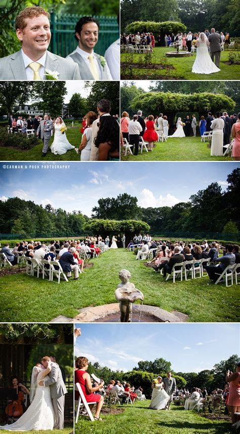 Outdoor rose garden wedding ceremony with fountain at