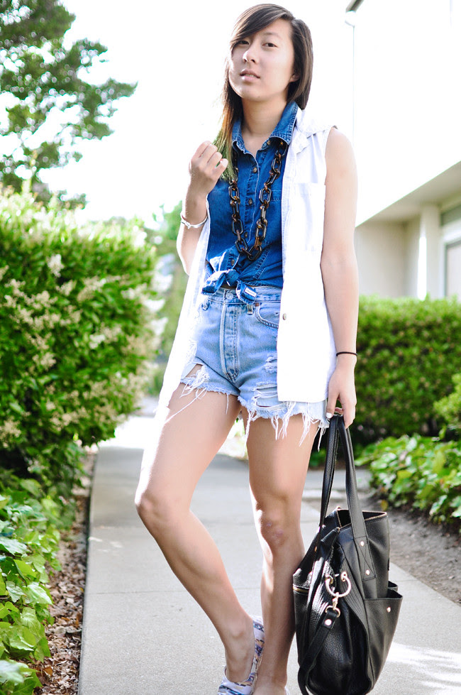 thrifted dark denim top, thrifted light denim vest, thrifted Levis cutoffs, random large tortoise chain necklace, black leather hobo {via Taiwan}, printed H&M espadrilles