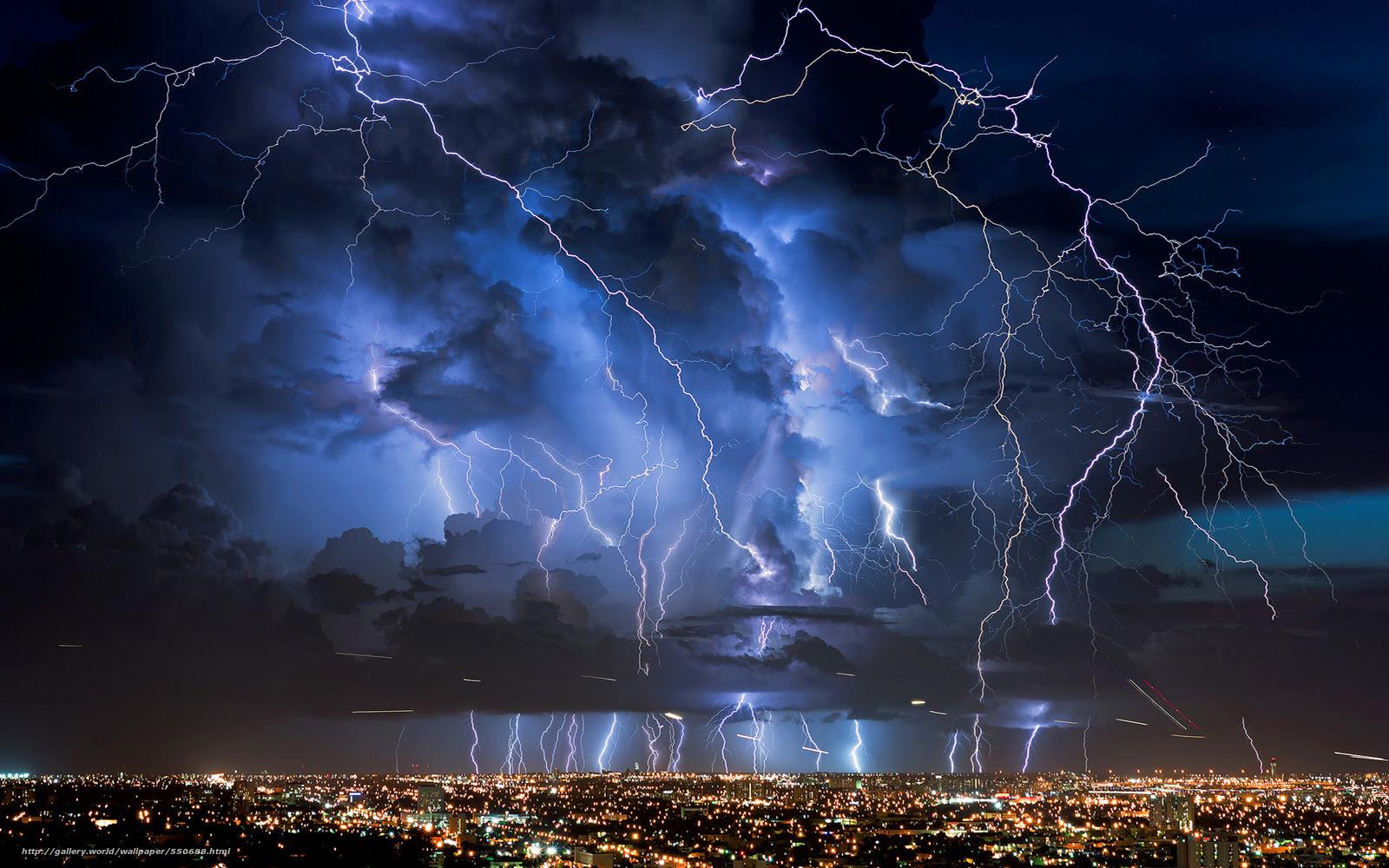 壁紙をダウンロード 嵐 稲妻 都市 デスクトップの解像度のための無料
