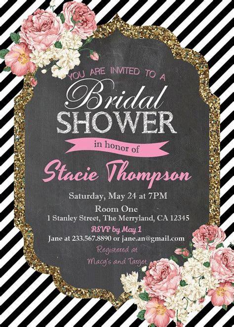 Chalkboard Bridal Shower Invitation. Black White Stripe