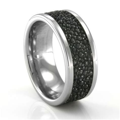 Tungsten Mens Wedding Band with Stingray Leather #