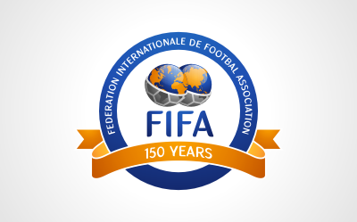 New FIFA logo and FIFA (Federation Internationale de Footbal Association) Anniversary logo mockup