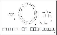 1. Rekonstrukcja układu paciorków: a - naszyjnik, b - bransoleta na rękę, c - bransoleta na nogę, d - pas.