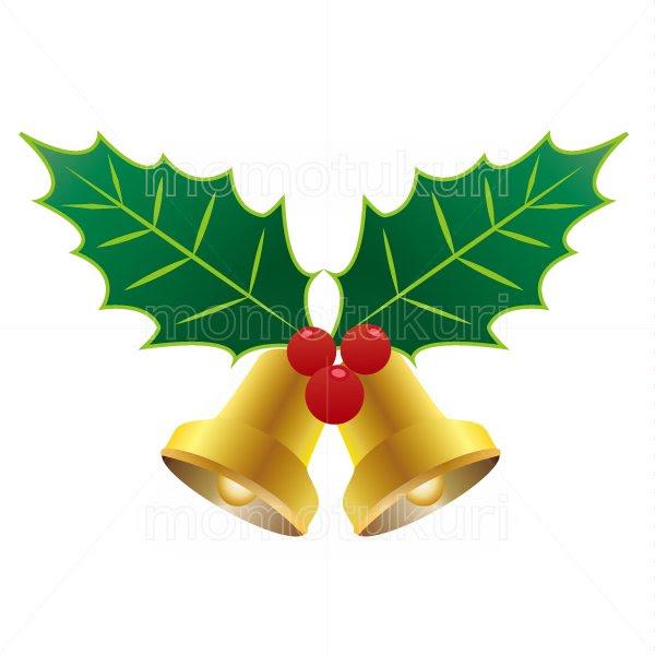 99円から390円素材sozaiクリスマス ベル ヒイラギのイラスト