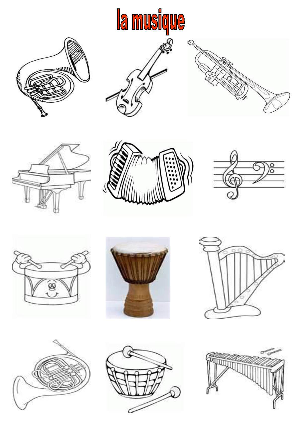 Coloriage Instrument De Musique Maternelle | Imprimer et Obtenir une Coloriage Gratuit Ici