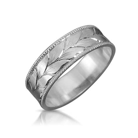 leaves wedding band mens wedding ring white gold wedding