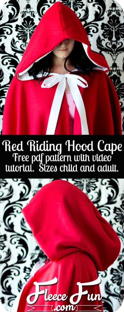 Red Riding Hood Cape Pattern by  www.fleecefun.com