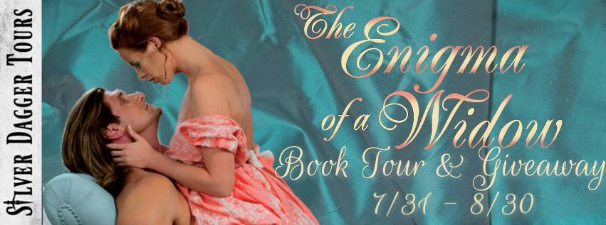 Book Tour Banner for the historical romance The Enigma of a Widow by Linda Rae Sande with a Book Tour Giveaway