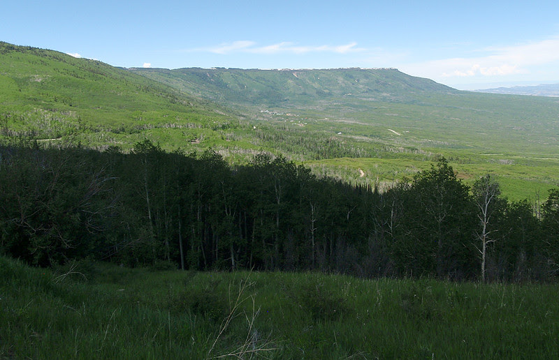 I'm about 2/3 of the climb to the top of the Grand Mesa.  The Powderhorn Ski Resort is in the back top center