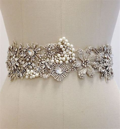 Ornate Beaded Bridal Sash with Crystals & Pearls   Wedding