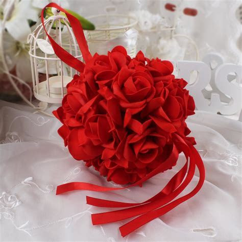 10pcs14cm Foam Flower Ball Artificial Rose Hanging Kissing