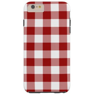 Red and White Gingham Pattern iPhone 6 Plus Case