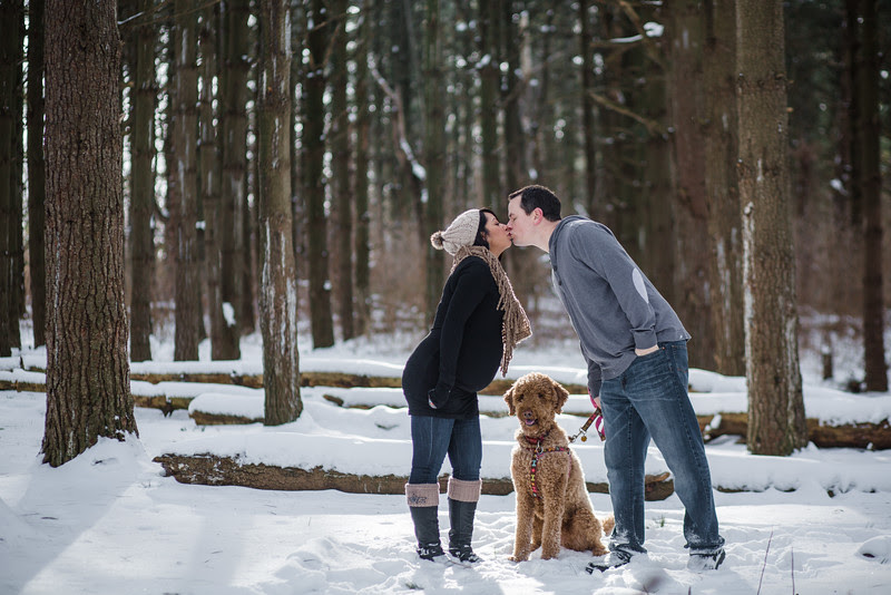 Shawntay and Justin went to Rock Cut State Park outside of Rockford IL for their candid photos for their first baby. The fresh snow made for beautiful winter maternity portraits.