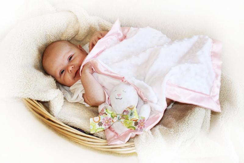 Minky White Bunny Rabbit Lovey Blanket Satin Baby by bbsforbabies