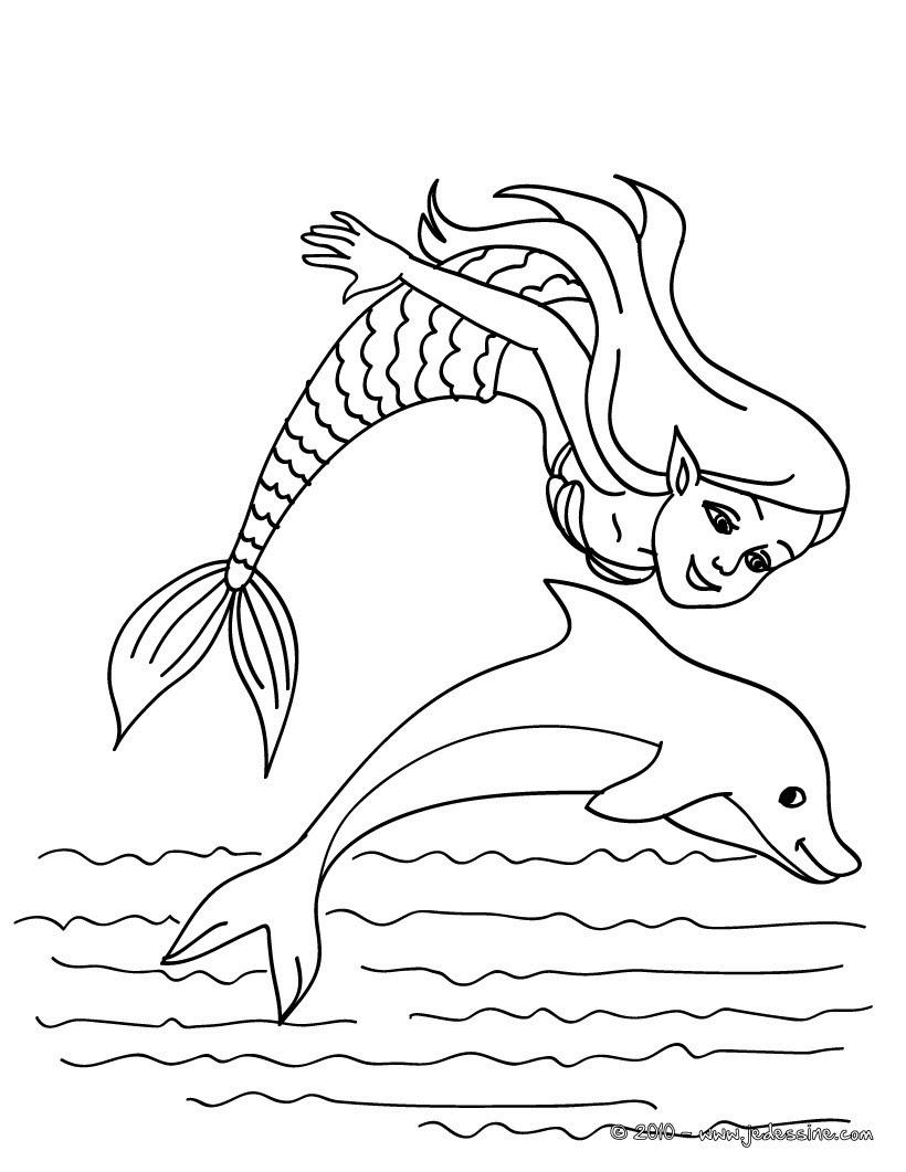 coloriage sir¨ne et dauphin
