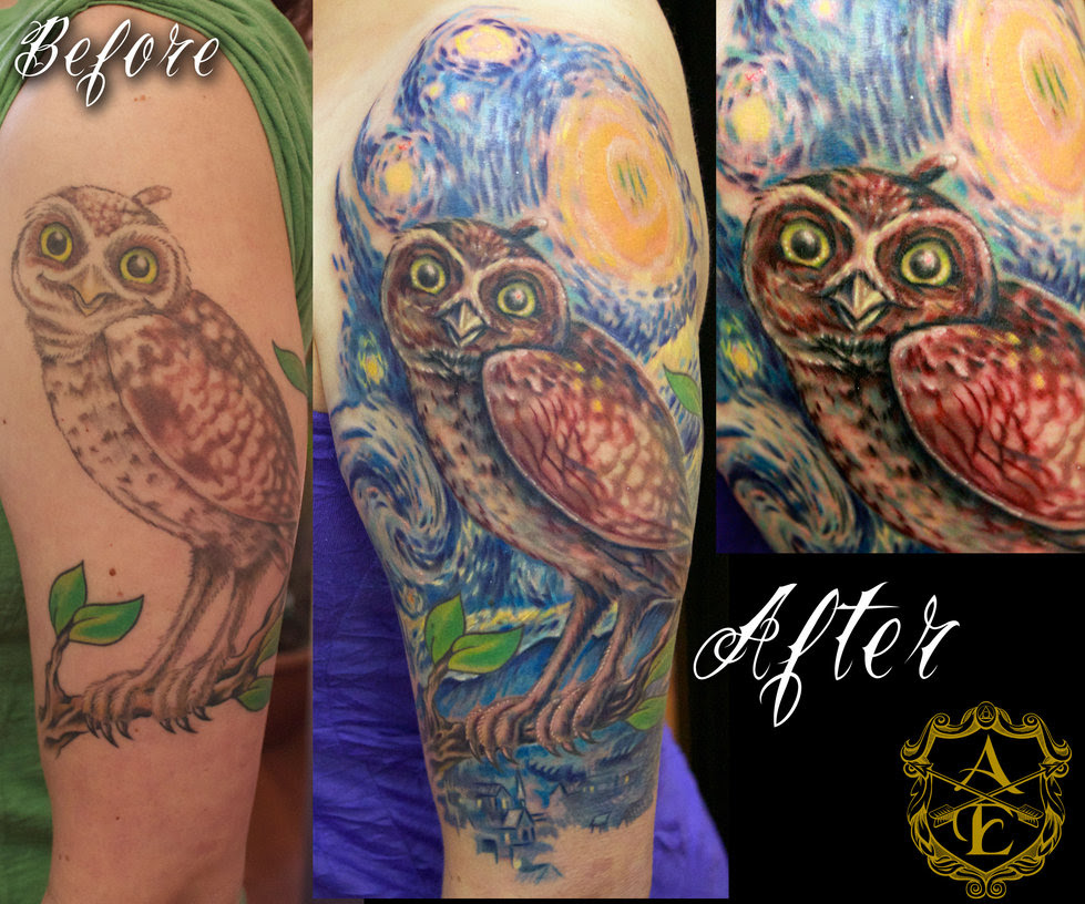 Starry Night Owl Tattoo On Sleeve In 2017 Real Photo Pictures
