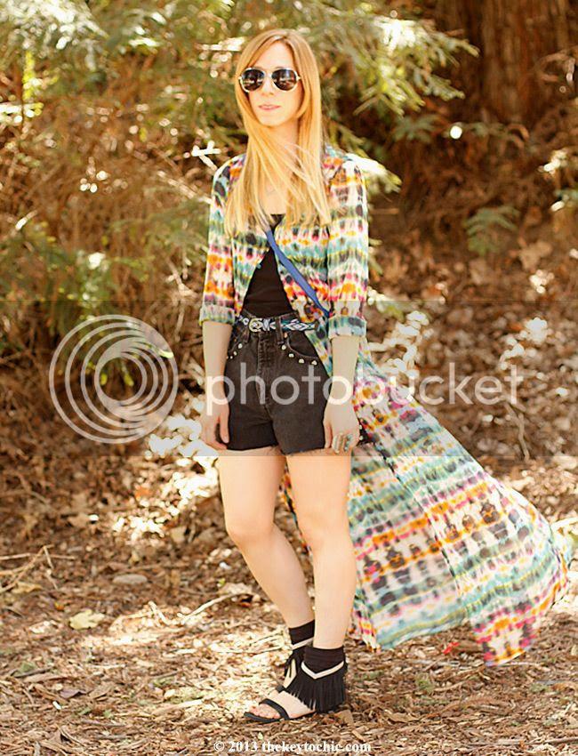 Zara tie-dye dress, Koolaburra Zola fringe sandals, DIY vintage Levi's, L.A. street style