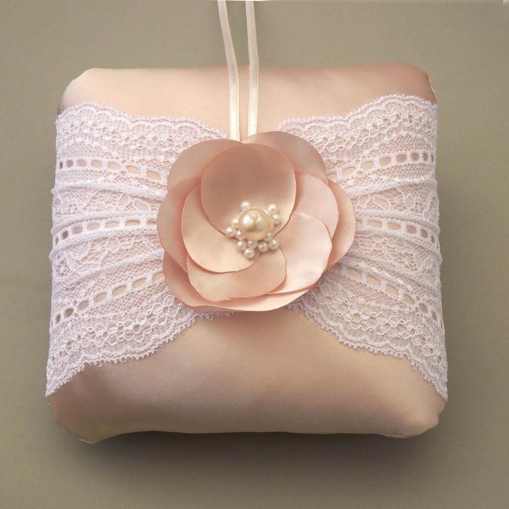 Pastel pink bridal ring bearer pillow lace decorated, weddings cushion, unique design, rhandmade - MammaMiaBridal