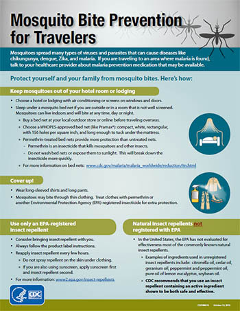 Mosquito Bite Prevention for Travelers fact sheet screenshot