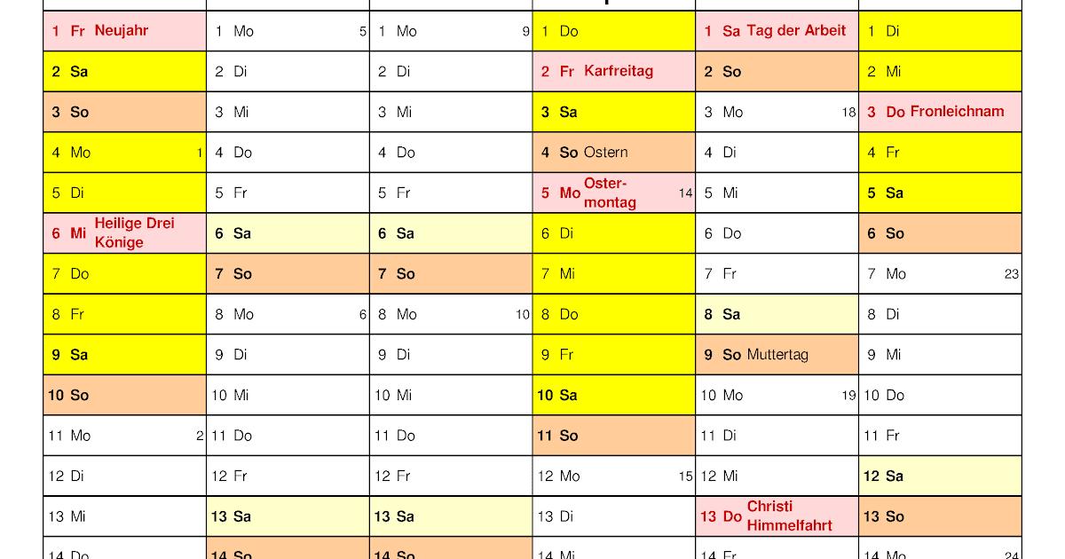 Kalender 2021 Bayern Ausdrucken - Ferien Bayern 2021 2022 ...
